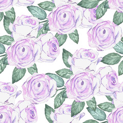 Watercolor roses pattern. Background for wedding invitations, sa