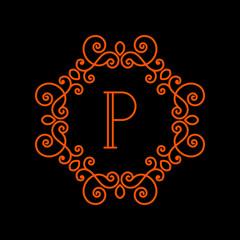 Monogram template, logo design. Line style