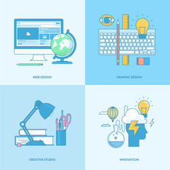 Line concept icons for graphic and web design