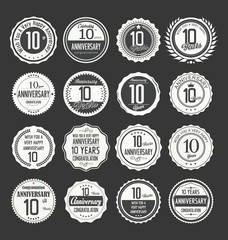 Anniversary retro labels 10 years collection,