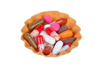 color tablets in baskets tartlets