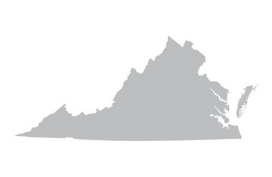 grey map of Virginia