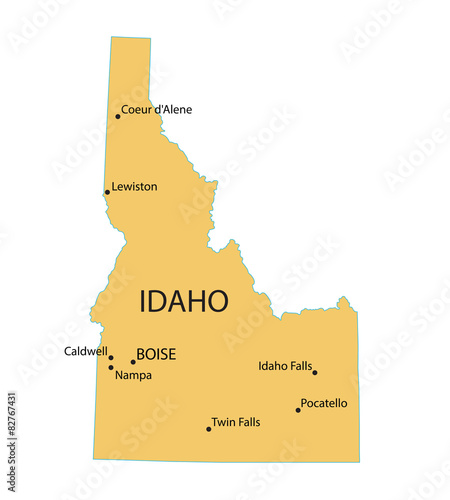 Yellow Map Of Idaho With Indication Of Largest Cities Stock Image