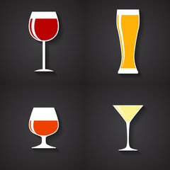 Modern Flat Dink Glass Icon Set for Web and Mobile Application i