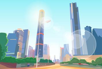 City Street Skyscraper View Cityscape Vector