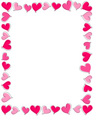 Pink and red heart frame / border