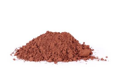 Heap of fresh cacao powder, on white ckground