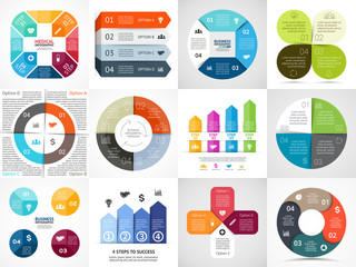 Vector circle arrows stripe infographics set. Template for cycle