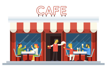 Cafe Building Facade Customer People Eating Drinking Waiter
