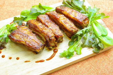 Deurstickers Kip Oven-roasted ribs with barbeque sauce