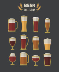 Collection of flat vector Beer glasses