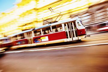 Train Speeding in the city of Prague
