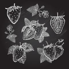 hand drawn strawberries