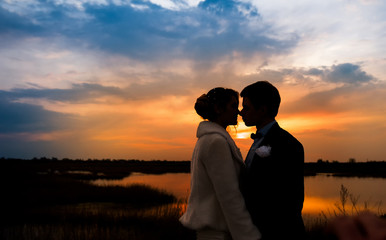 silhouettes of the bride and groom on the background of the sett