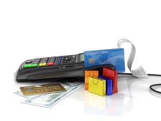 Payment terminal with credit card, money and shopping bag on whi