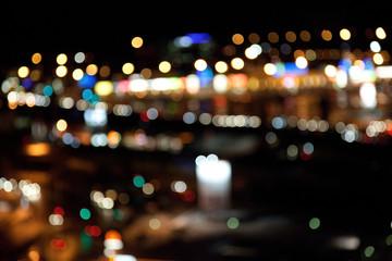 Fotobehang - colorful bright lights on dark night background