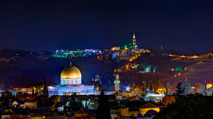 Jerusalem at night with the Al-Aqsa Mosque and the Mount of Oliv