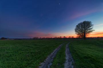Fototapeta rural road at sunset