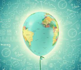 World map in balloon shape