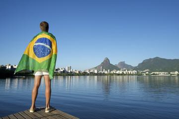 Athlete Draped in Brazilian Flag Rio de Janeiro