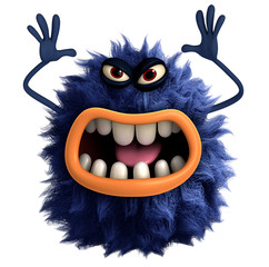 Door stickers Sweet Monsters blue cartoon hairy monster 3d