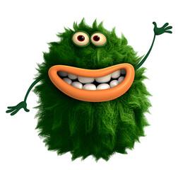 Poster de jardin Doux monstres green cartoon hairy monster 3d