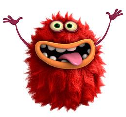 Foto auf AluDibond Nette Monster red cartoon hairy monster 3d