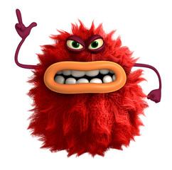 Poster de jardin Doux monstres cartoon hairy monster 3d