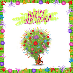 Happy Birthday Card Kitten with Bunch of Wild Flowers