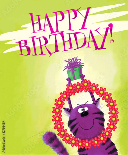Happy Birthday Card Cat Holding Gift Box And Garland