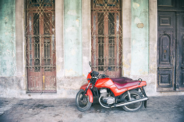 Havana Cuba Motorcycle Colonial Architecture