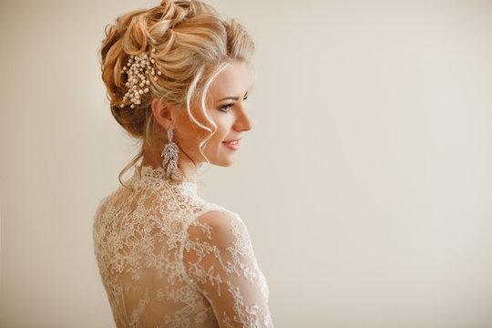 Beautiful bride wedding makeup hairstyle marriage