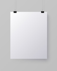 White blank vertical sheet of paper, vector mock-up