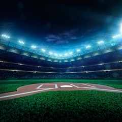 Professional baseball grand arena in night