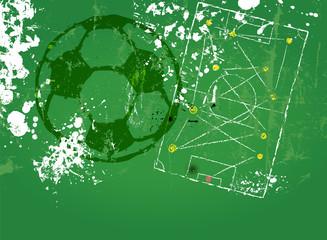 grungy soccer design, tactics diagram, copy space