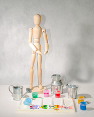 Art mannequin palette and paint