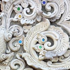 Stucco white sculpture decorative pattern wall design
