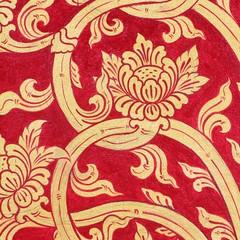 thai art red gold wall paint