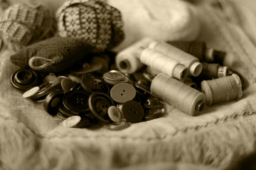 Crafts thread dressmaking scissors monochrome buttons