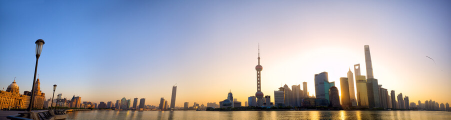 Shanghai skyline panorama at sunrise with The Bund and Pudong