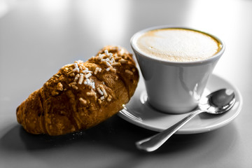 Cappuccino croissant breakfast