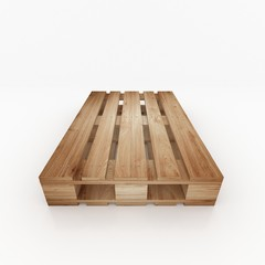 Wooden shipping pallet top front view isolated on white