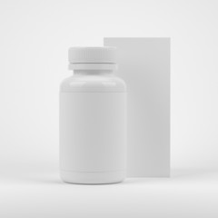 Blank pills container with blank label and package box on white