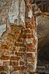 Old Church in Russia.A fragment of a brick wall