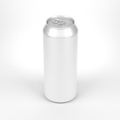 Blank soda or beer metal can front top view