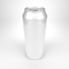 Blank soda or beer metal can fish eye view