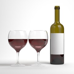 Red wine bottle with 2 wine glasses. Bottle without label