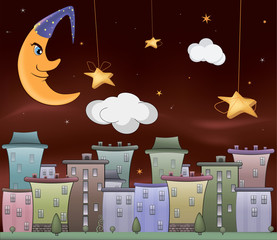 Night city cartoon