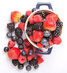 Strawberry, blueberry, blackberry and raspberry in a blue pot