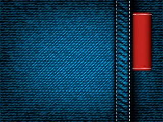 Denim jeans vector texture, red label